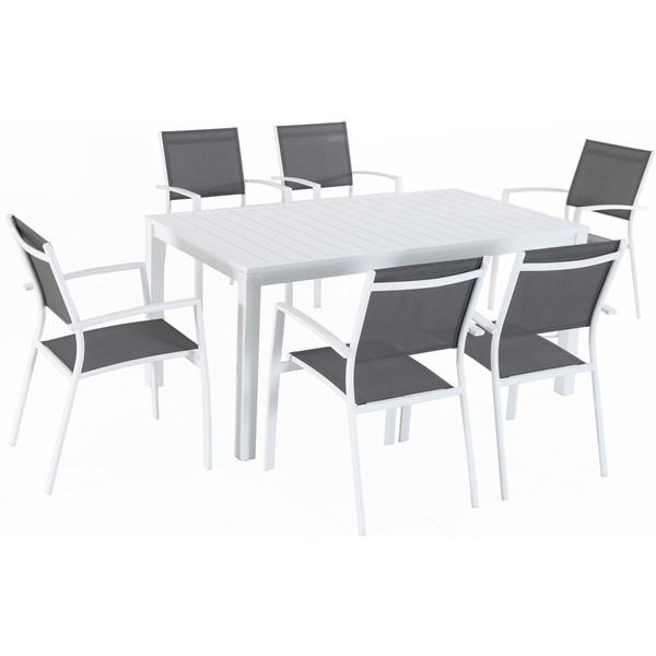 Mod Furniture 7 Piece Dining Set - 6 Aluminum Chairs And 1 Slat Rectangle Table HARPDNS7PC-WHT