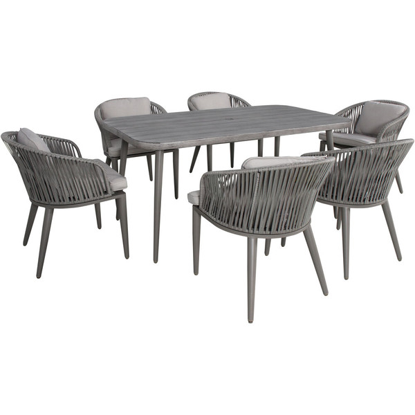 Mod Furniture Riley 7 Piece Dining Set - 6 Rope Cushioned Chairs, 63X35 Faux Wood Top Table RLYDN7PC-GRY