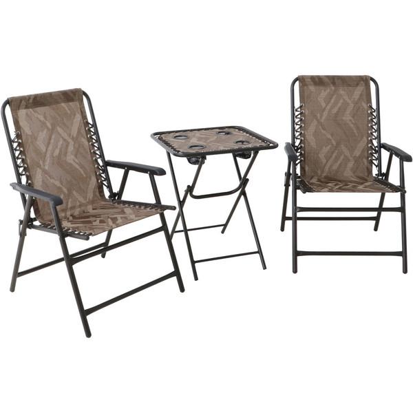 Hanover Elkhorn 3 Piece Set: 2 Camo Folding Chairs And Camo Folding Side Table ELKHORN3PC