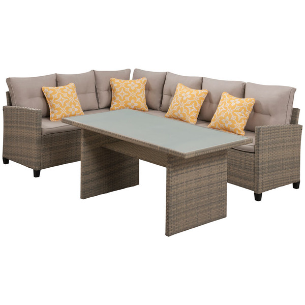 Mod Furniture Amelia 3 Piece Set: Sectional Deep Seating Set With Chow Table AML3PC-GRY