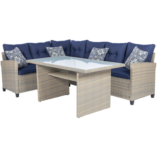 Mod Furniture Amelia 3 Piece Set: Sectional Deep Seating Set With Chow Table AML3PC-NVY