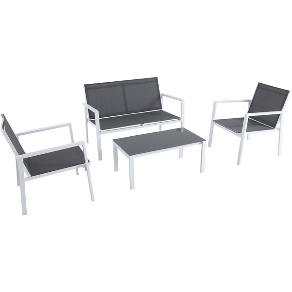 Mod Furniture 4Pc Seating Set: Sling Loveseat, 2 Sling Side Chairs, Coffee Table HARP4PC-WG