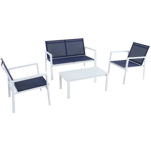 Mod Furniture 4Pc Seating Set: Sling Loveseat, 2 Sling Side Chairs, Coffee Table HARP4PC-WN