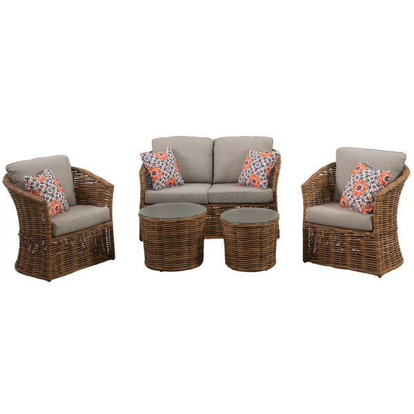 Mod Furniture Lexi 5 Piece Set: 2 Stationary Chairs, Loveseat, And 2 Woven Glass Top Tables LEXI5PC-GRY