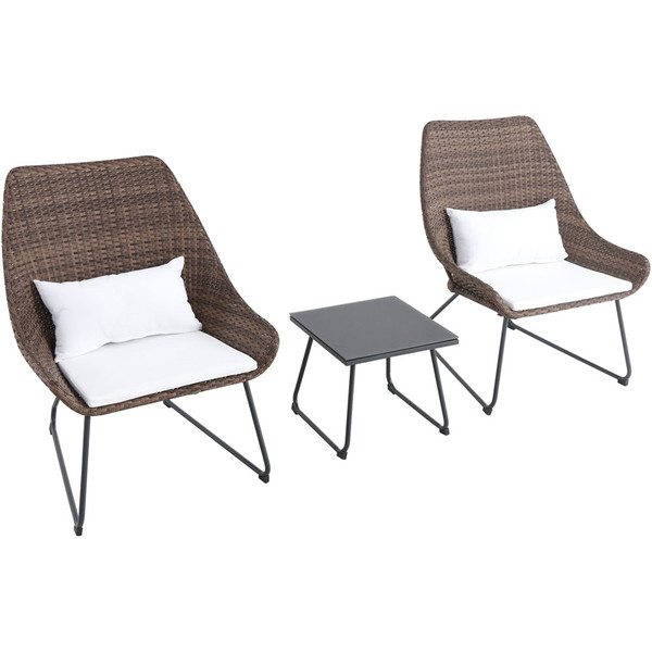 Mod Furniture 3 Piece Seating Set: 2 Steel Side Chairs, Accent Table MONTK3PC-WHT