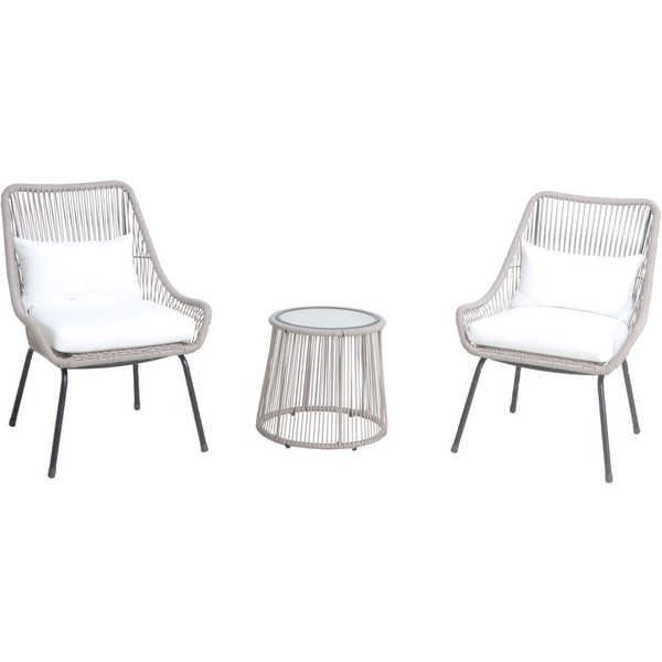 Mod Furniture Shae 3 Piece Set: 2 Rattan Wicker Side Chairs And Glass Top Coffee Table SHAE3PC-WHT