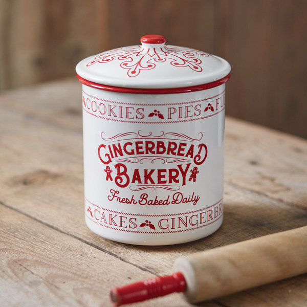 CTW Home Gingerbread Bakery Enameled Christmas Container 440115