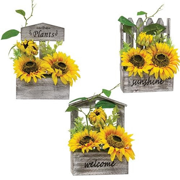 Sunflowers in Wooden Planter 3 Assorted (Pack Of 3) G2521860 By CWI Gifts