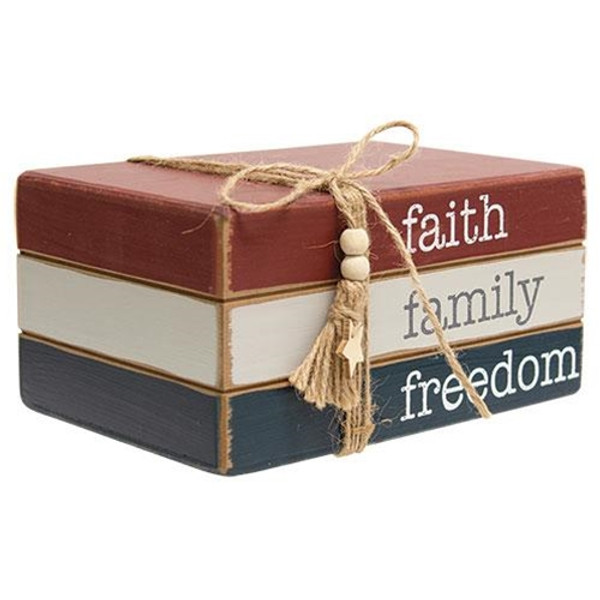 Faith Family Freedom Wooden Book Stack G35480 By CWI Gifts