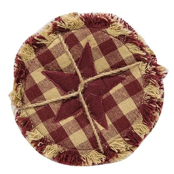 4/Set Burgundy & Tan Check Star Applique Round Coasters G54025 By CWI Gifts
