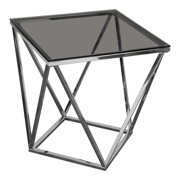 Gem End Table with Smoked Tempered Glass Top and Polished Stainless Steel Base GEMETSL