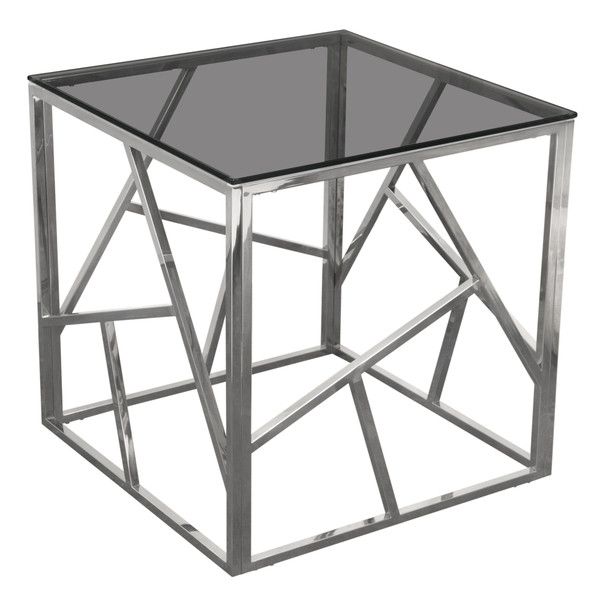 Nest Square End Table with Smoked Tempered Glass Top and Polished Stainless Steel Base NESTETSL