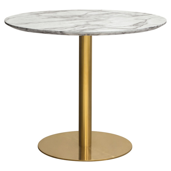 """Stella 36"""" Round Dining Table w/ Faux Marble Top and Brushed Gold Metal Base STELLADTMAGD"""