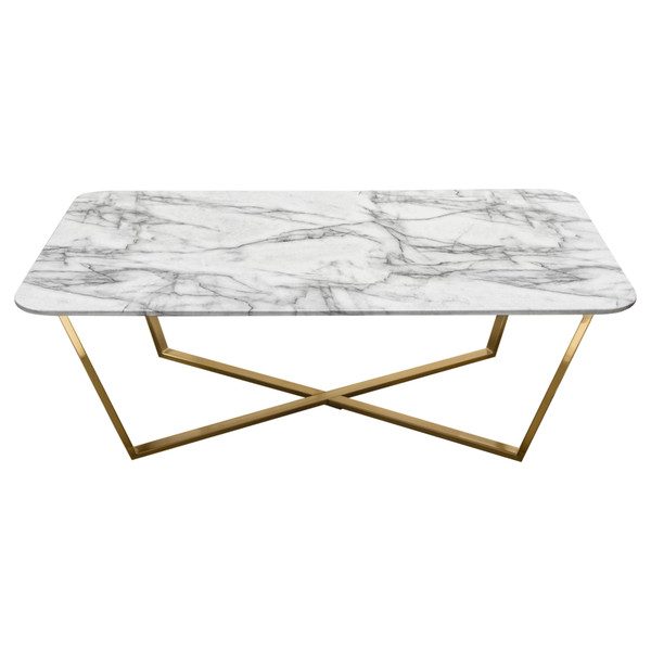 Vida Rectangle Cocktail Table w/ Faux Marble Top and Brushed Gold Metal Frame VIDACTMA