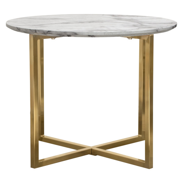 """Vida 24"""" Round End Table w/ Faux Marble Top and Brushed Gold Metal Frame VIDAETMA"""
