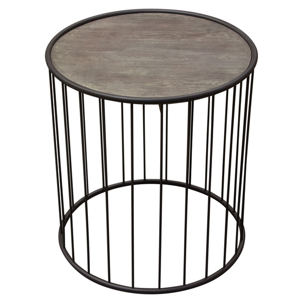 """Gibson 22"""" Round End Table with Grey Oak Finished Top and Metal Base GIBSONETGO"""