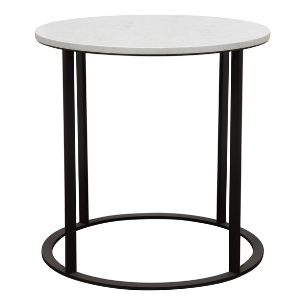 Surface Round End Table w/ Engineered Marble Top & Black Powder Coated Metal Base SURFACEETMA