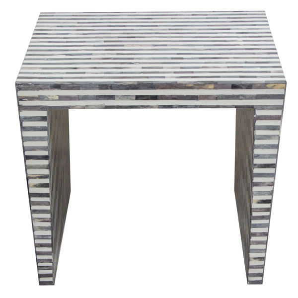 Mosaic End Table w/ Bone Linlay in Linear Pattern MOSAICETBI