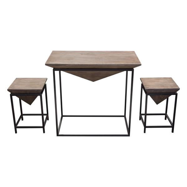 Venue 3PC Counter Table w/ (2) Stools w/ Solid Mango Top in Walnut Grey Finish & Black Iron Base VENUESETWA