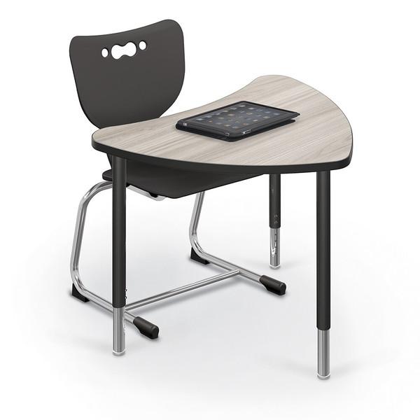 Hierarchy Chevron Desk & Table - Black Edgeband - Black Horseshoe Legs - No Bookbox 1533