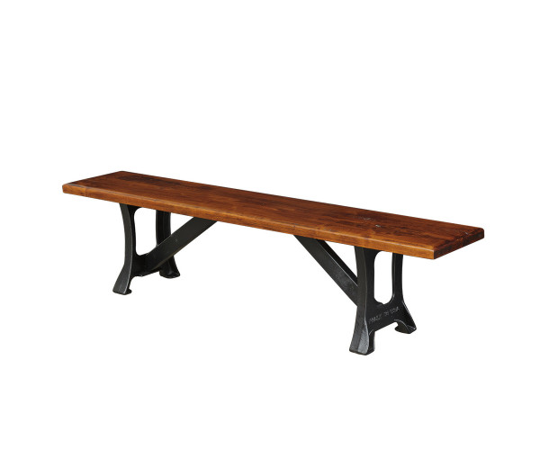 """14"""" X 72"""" 1 3/4'' Solid Wormy Maple Bench With Cast Iron Base 1472ci By Forest Ridge Woodworking"""