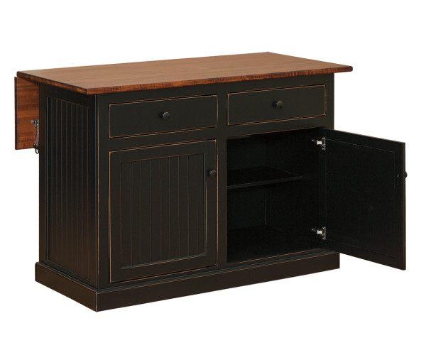 """52"""" Island With Drop Leaf & Trim On Base I64 By Forest Ridge Woodworking"""