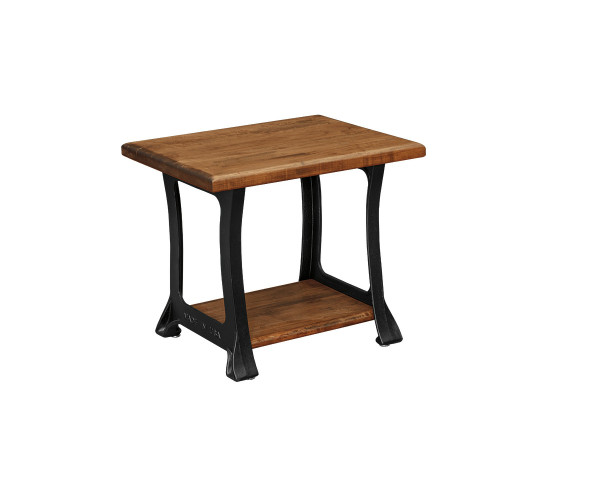 End Table With Cast Iron Base Wormy Maple Top & Shelf 2722 By Forest Ridge Woodworking