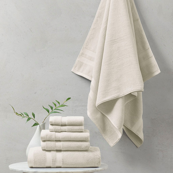 Plume 100% Cotton Feather Touch Antimicrobial Towel 6 Piece Set - By Beautyrest BR73-2436