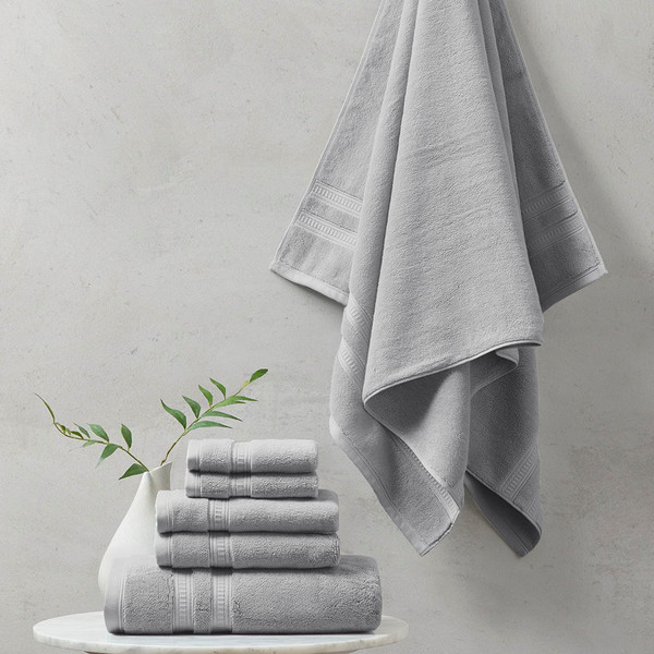 Plume 100% Cotton Feather Touch Antimicrobial Towel 6 Piece Set - By Beautyrest BR73-2439