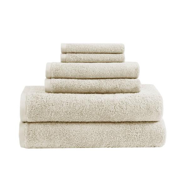 Loft 100% Cotton Solid 6 Piece Antimicrobial Towel Set - By Clean Spaces LCN73-0058