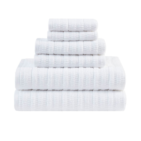 Loft 100% Cotton Solid Textured Antimicrobial 6 Piece Towel Set - By Clean Spaces LCN73-0064