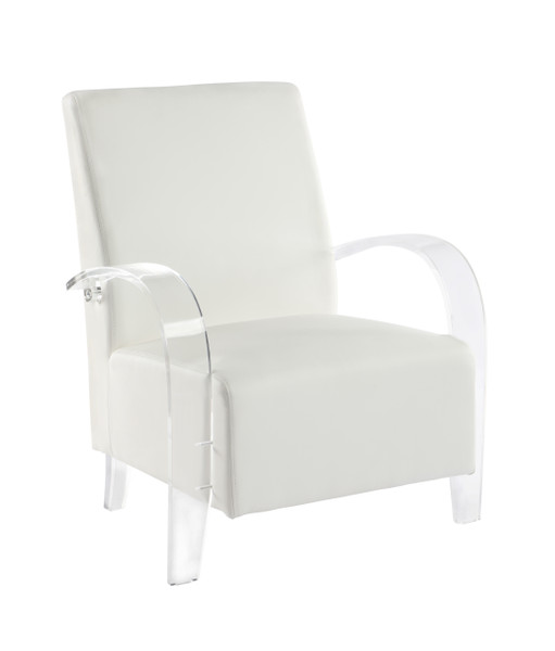 Accent Chair With Solid Acrylic Frame 2071-ACC-WHT
