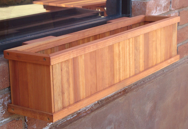 WPBB-08H08H36B6E1905 Redwood  36 In. Window Planter Box With Heart Stain