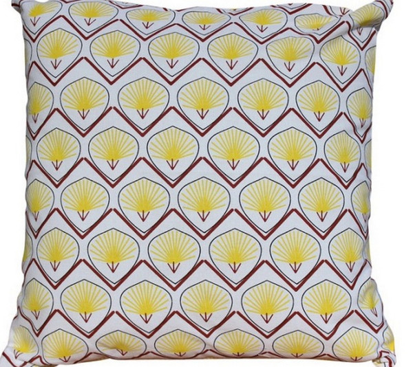 "TABLE Yellow And Red Feathers And Leaves Printed Pillow - 16"" X 16"""