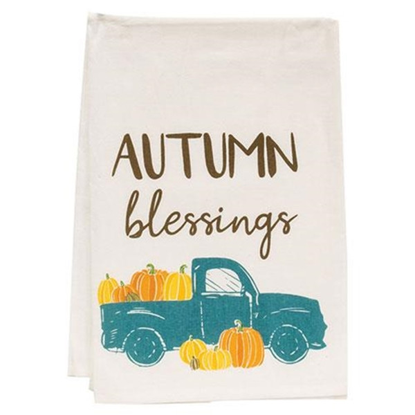 Autumn Blessings Truck Dish Towel G54069 By CWI Gifts