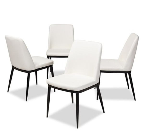 Baxton Studio Darcell Modern And Contemporary Dining Chair 150595-White-4PC-Set