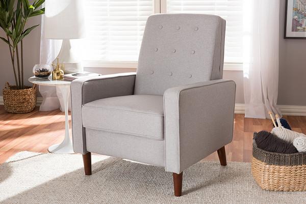 Baxton Studio Light Grey Fabric Upholstered Lounge Chair 1705-Light Gray