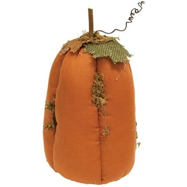 "Mossy Orange Stuffed Pumpkin 4.75"" X 9"" GCS38021 By CWI Gifts"