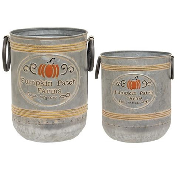 Pumpkin Patch Farms Galvanized Buckets (Set Of 2) GH20A5029 By CWI Gifts
