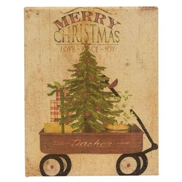 Christmas Tree In Wagon Wax Dipped Canvas GRJ820CAN By CWI Gifts
