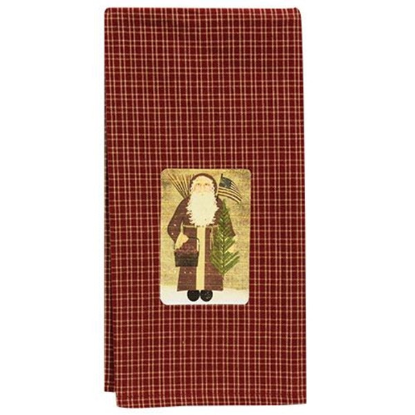 Santa With Flag Dish Towel GRJ824 By CWI Gifts