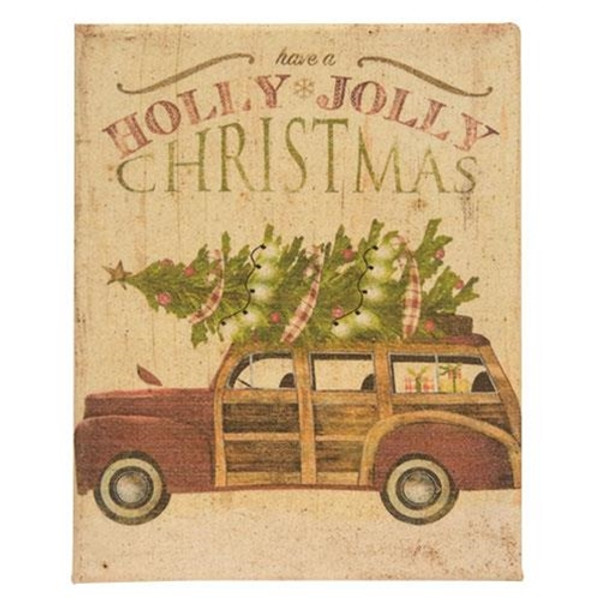 Holly Jolly Christmas Wood Paneled Car Wax Dipped Canvas GRJ828CAN By CWI Gifts