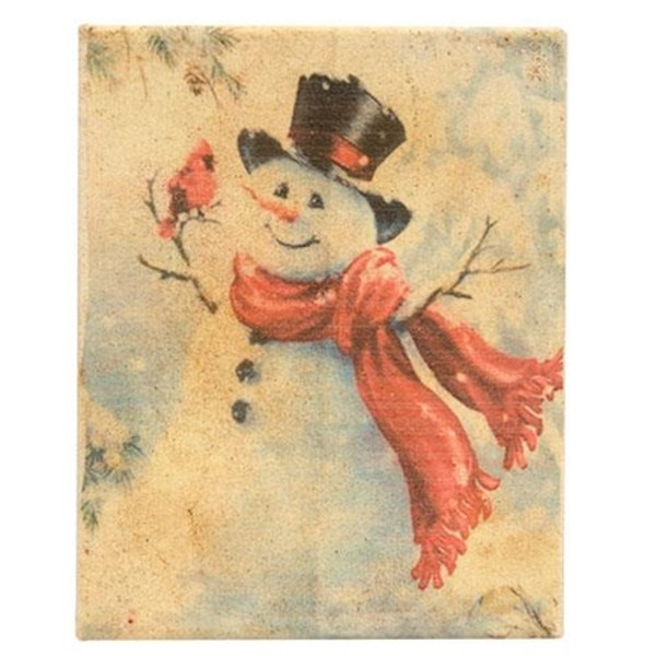 Snowman & Cardinal Wax Dipped Canvas GRJ832CAN By CWI Gifts