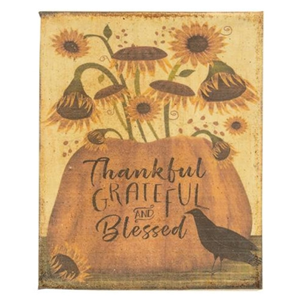 Thankful Grateful And Blessed Beeswax Dipped Canvas GRJ854CAN By CWI Gifts
