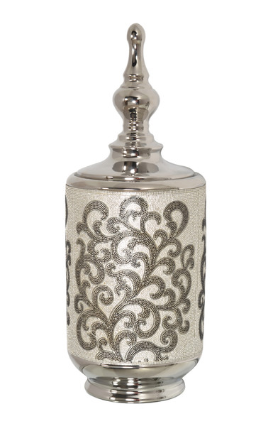 AFD Home Silver Black Crystal Scroll Small Box 12019413