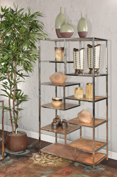 AFD Home Allazzo 72 Inch Etagere Pier Unit Stainless Steel Mango Wood Natural Finish 12019110