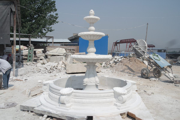 AFD Home Three Tier Fountain White Marble 12002666