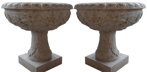 AFD Home Planters In Yellow Stone Marble Set Of 2 17406 12012645