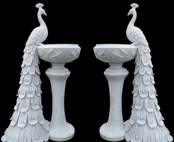 AFD Home Peacock Planters In White Marble Set Of 2 17637 12012648