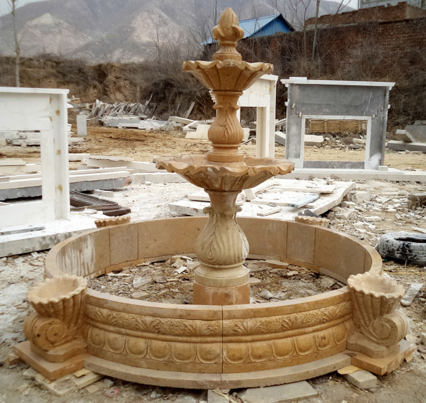 AFD Home Two Tier Yellow Marble Fountain Ge19590 12019115